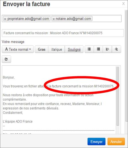 Ecran Envoi Mail Facture