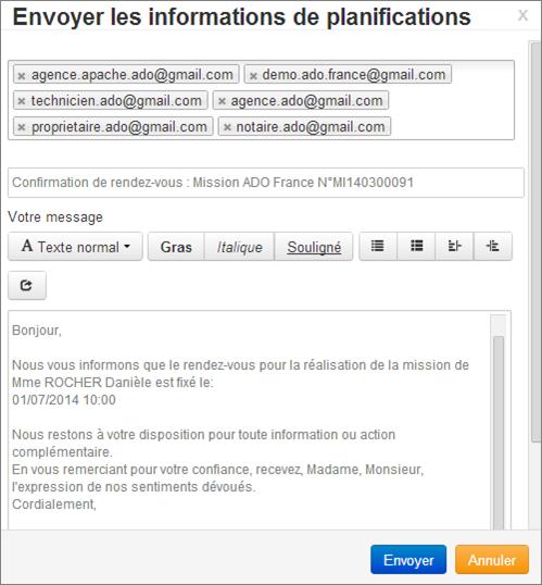 Ecran Envoi Mail Plannification