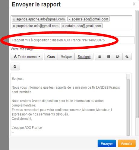 Ecran Envoi Mail Rapport